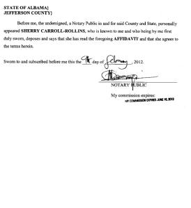 Sherry Rollins Affidavit pg 2
